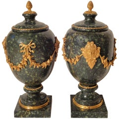 Stunning Pair of Green Porphyry Urns with Lids