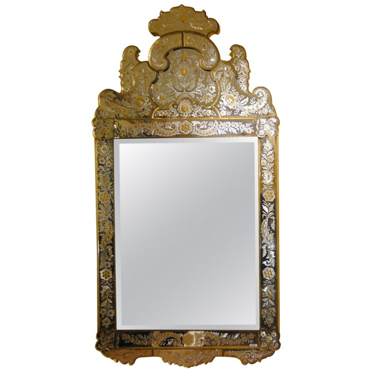 Large size venetian gilt and etched glass mirror at 1stdibs for Tall glass mirror