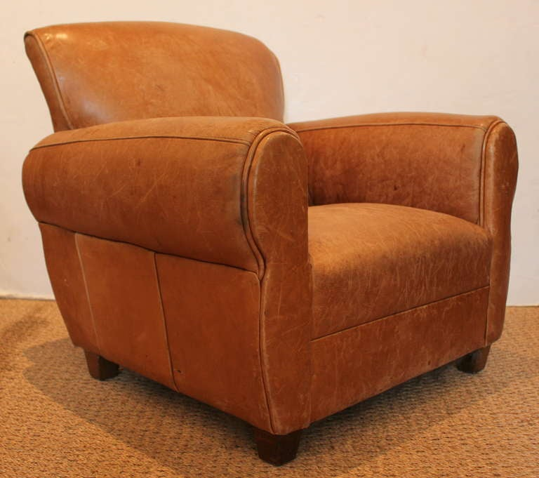 Petite Chair petite leather club chair for sale at 1stdibs