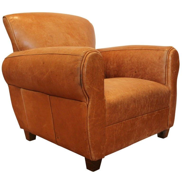 Petite Leather Club Chair For Sale At 1stdibs