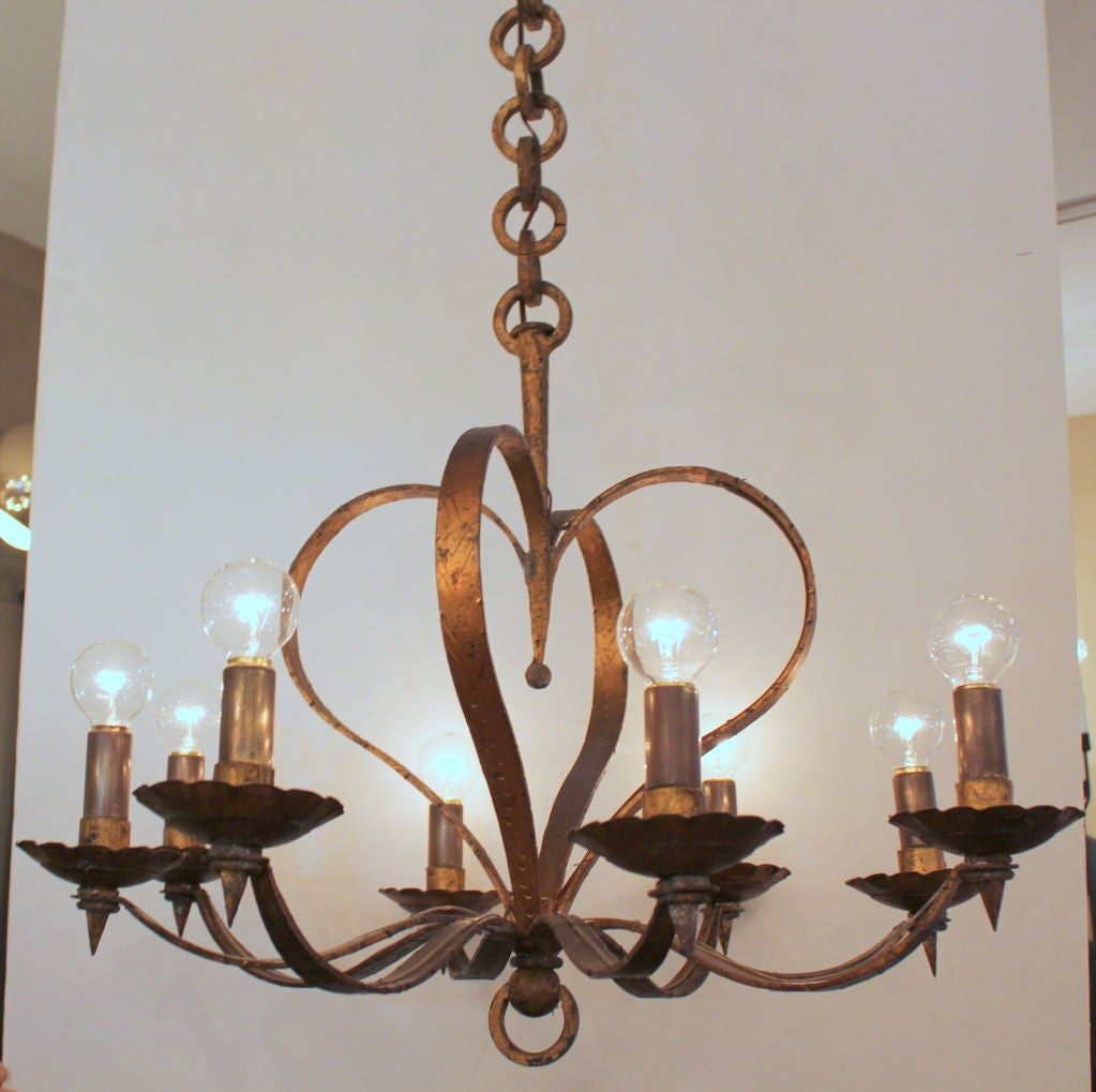 Spanish chandelier, gilt over metal. Original finish. Great heavy chain, original canopy. Rewired. Made in Spain.