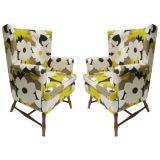 Pair of late 1950s English style wing chairs