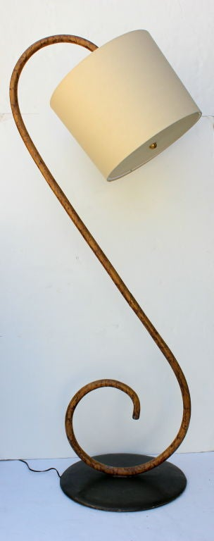 "Bent Wood ""S"" Floor Lamp.  Iron Base.  Linen Shade."