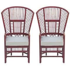 Pair of Rattan Wing  Chairs