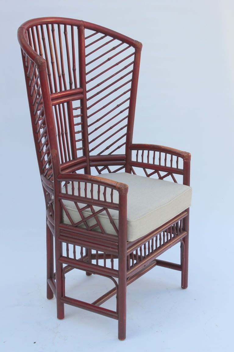 Pair of Rattan Wing Chairs at 1stdibs