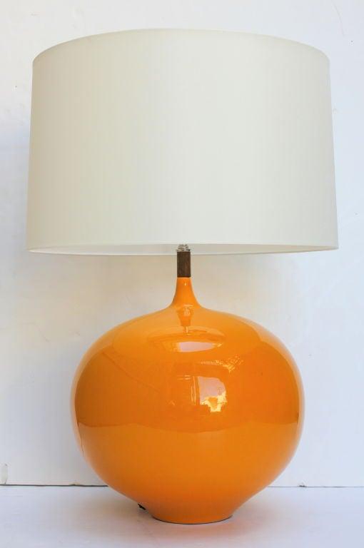 Large Ceramic Lamp with Wood Detail 2