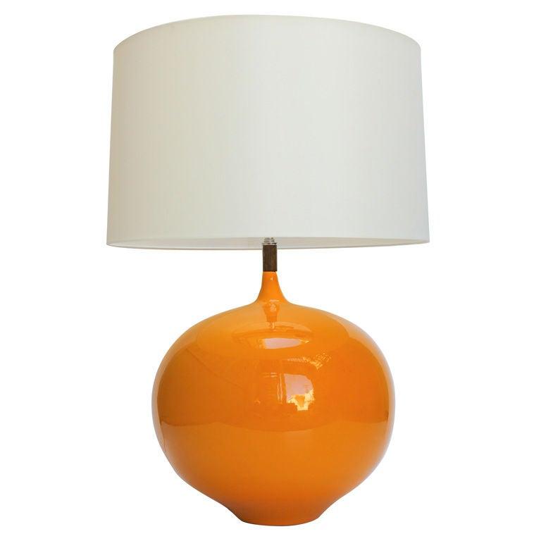large ceramic lamp with wood detail at 1stdibs. Black Bedroom Furniture Sets. Home Design Ideas