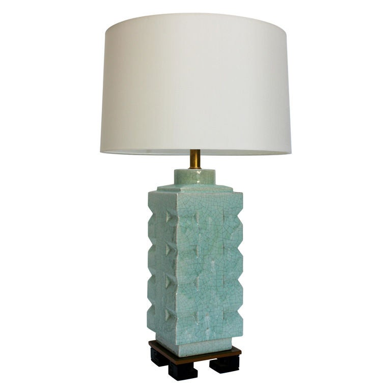 celadon crackle lamp with greek key base at 1stdibs. Black Bedroom Furniture Sets. Home Design Ideas