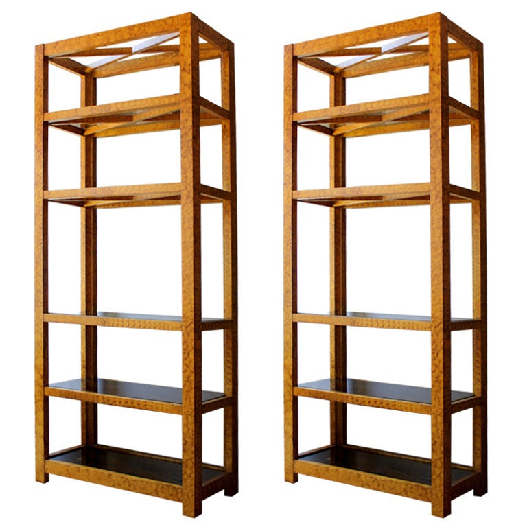 Pair of tortoise etageres at 1stdibs - Etagere cases carrees ...