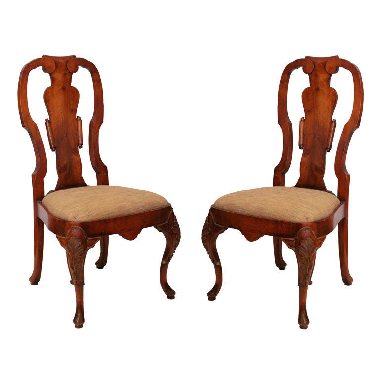 Pair of Queen Anne Chairs 1 - Pair Of Queen Anne Chairs For Sale At 1stdibs