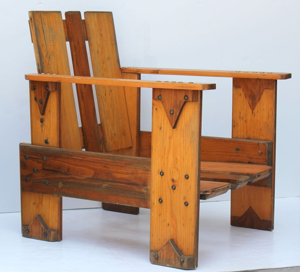 Dutch Crate Chair In The Manner Of Reitveldt. Beautiful Patina