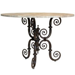 Iron Table with Stone Top