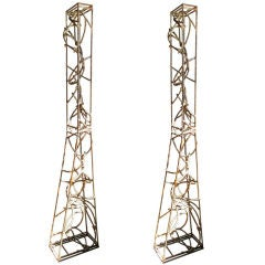 Pair of Iron Columnar Sculptures by Artist Bruce Fergerson
