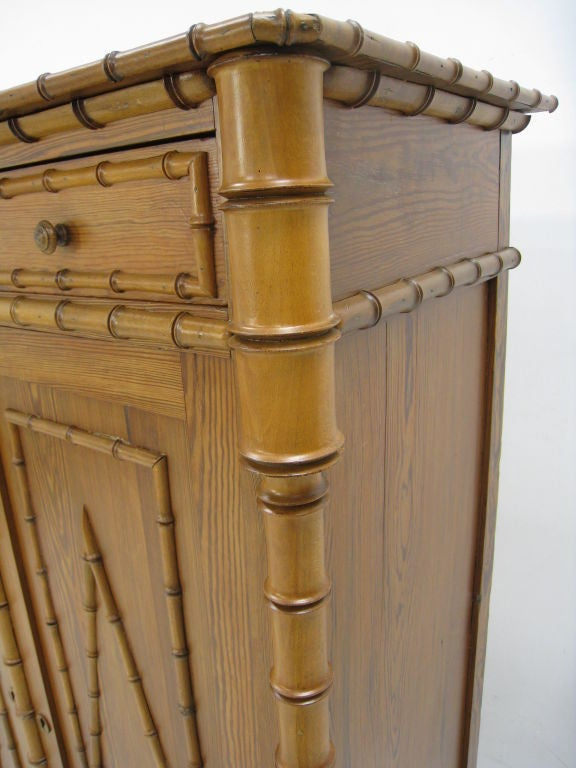 Faux Bamboo Early 20th Century English Tall Cabinet For Sale 1
