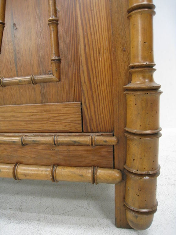 Faux Bamboo Early 20th Century English Tall Cabinet For Sale 2