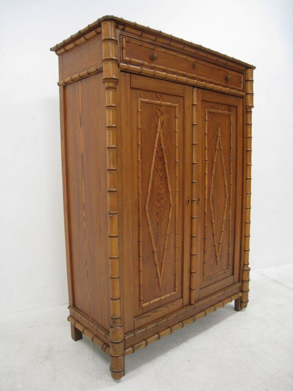 Faux Bamboo Early 20th Century English Tall Cabinet For Sale 4