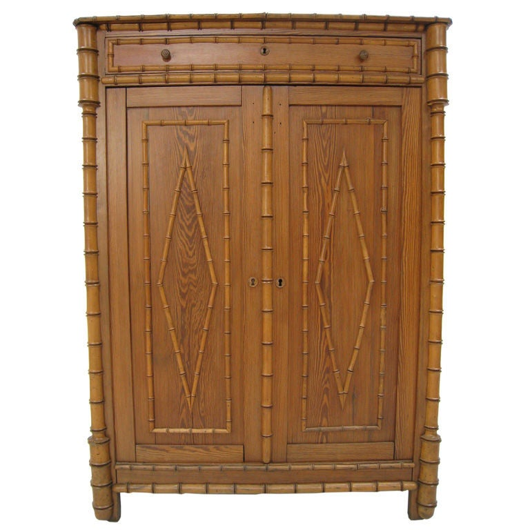 Faux Bamboo Early 20th Century English Tall Cabinet For Sale