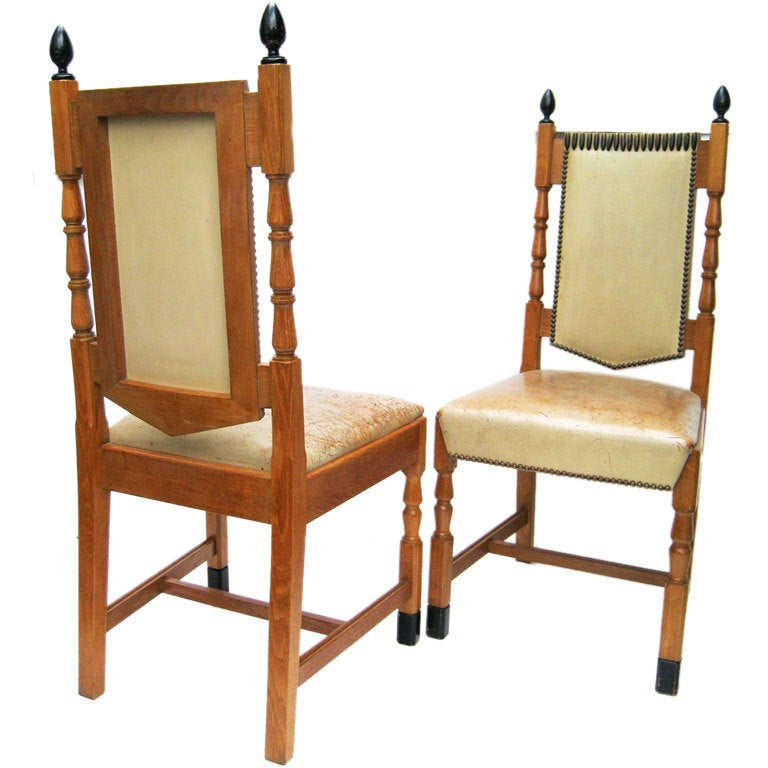 Set of Six French Oak and Lether Dining Chairs