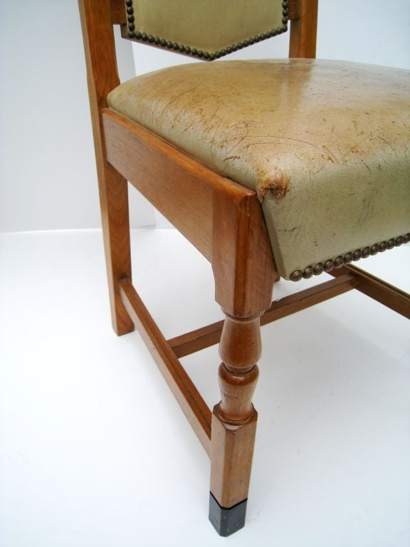 Set of Six French Oak and Lether Dining Chairs For Sale 1