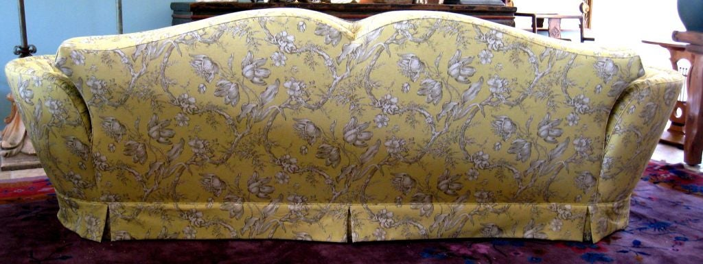 1930s Linen Toile Sofa With Tufted Splayed Arms Moustache Back Down Wrap Loose Seat