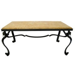 French Hand-Forged Iron and Yellow Sienna Marble Cocktail Table