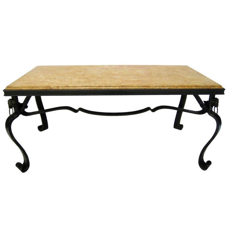 French Hand-Forged Iron and Yellow Sienna Marble Cocktail Table 1