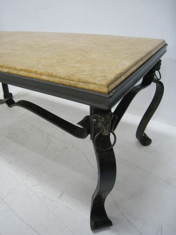 French Hand Forged Iron And Yellow Sienna Marble Cocktail Table For Sale At 1stdibs
