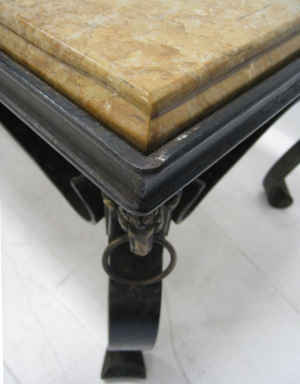 French Hand-Forged Iron and Yellow Sienna Marble Cocktail Table 4