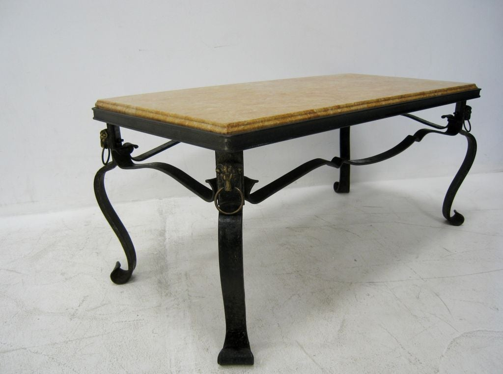 French Hand-Forged Iron and Yellow Sienna Marble Cocktail Table 5
