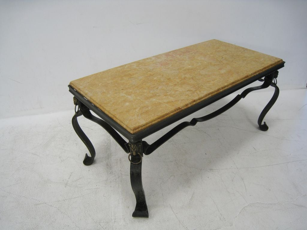 French Hand-Forged Iron and Yellow Sienna Marble Cocktail Table 6