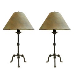 Pair of Iron Lamps with Parchment Shades