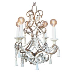 Italian Brass and Wood Beaded Chandelier