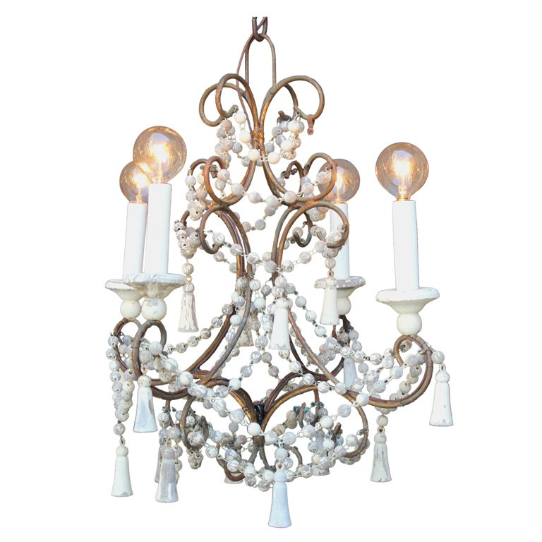 Italian Brass and Wood Beaded Chandelier For Sale