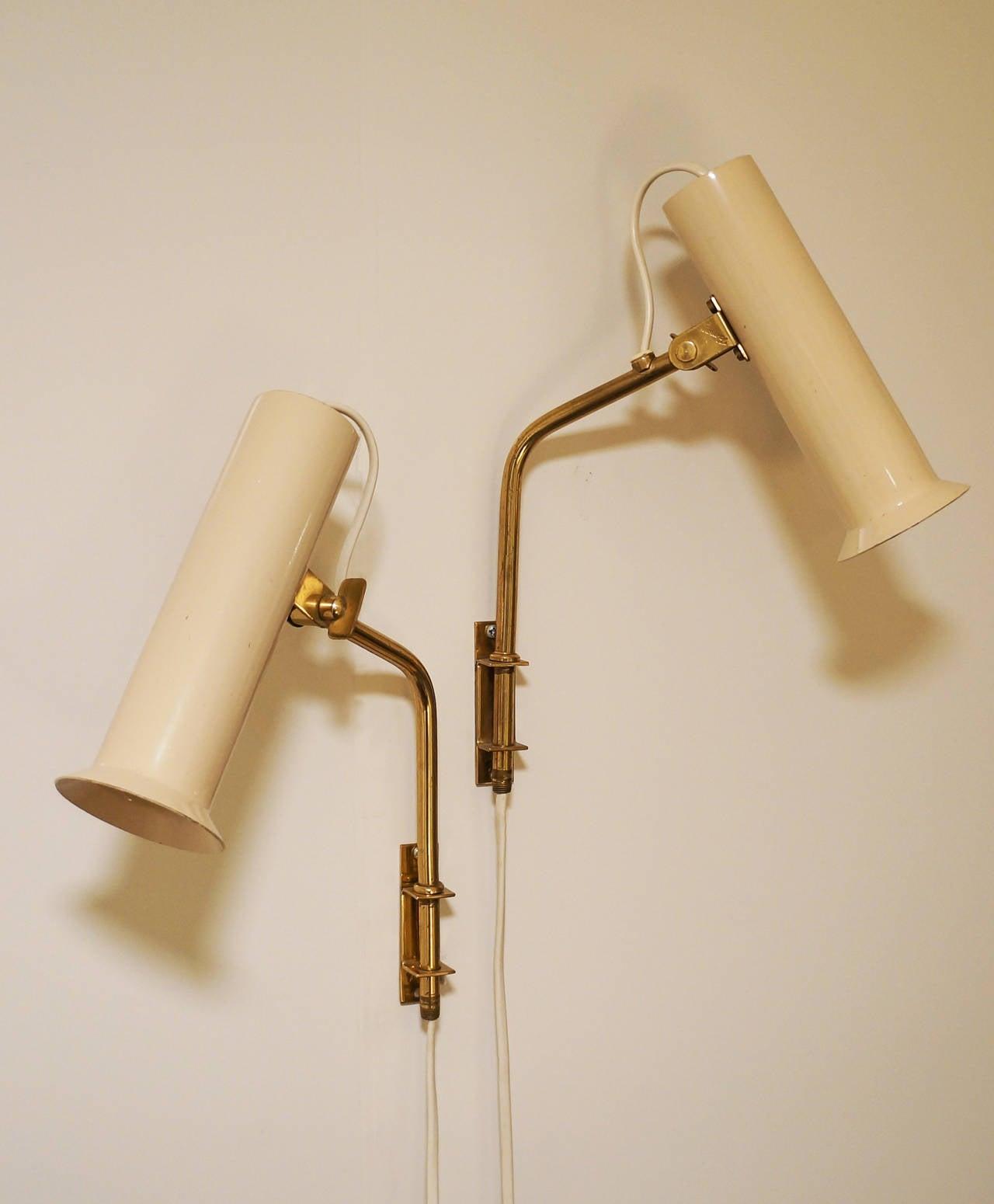 Scandinavian Modern Tapio Wirkkala Adjustable Reading Lamps or Sconces, 1950s For Sale