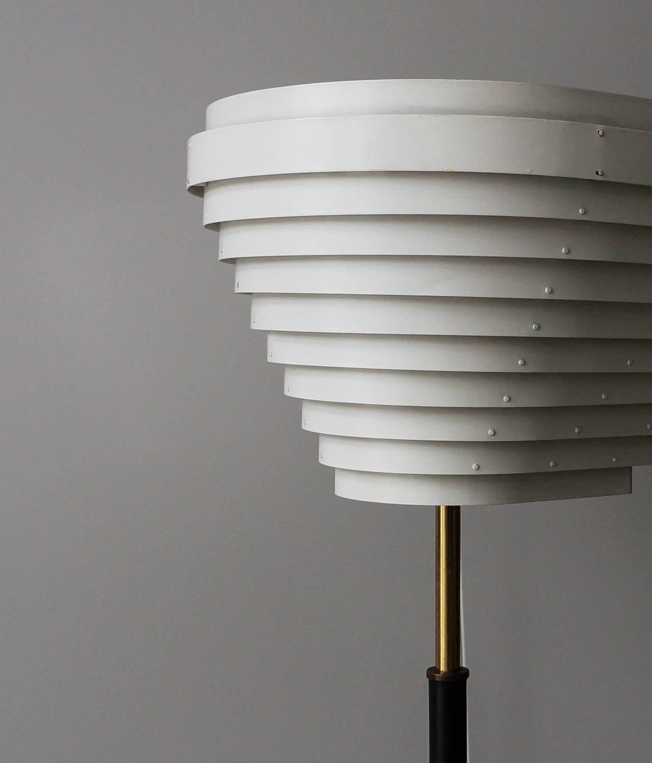 Brass Early Alvar Aalto Floor Lamp, Model A805 for Valaistustyö Ky, 1954 For Sale