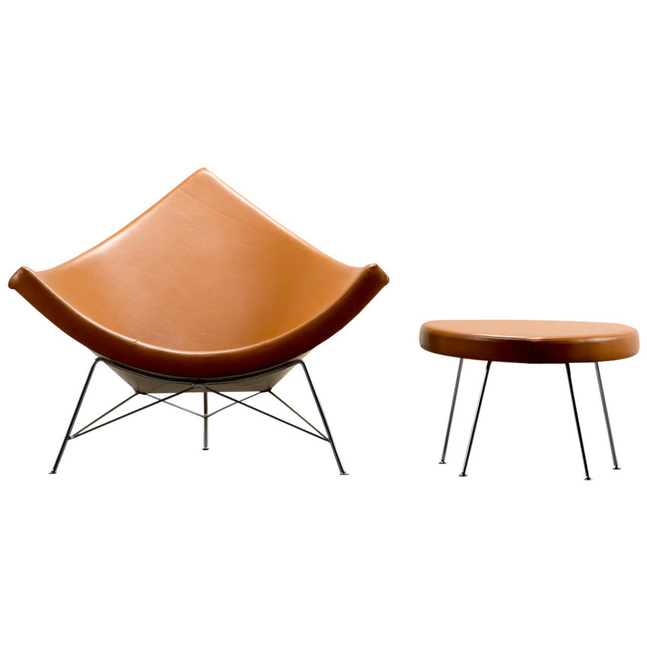 Muebles George Nelson - Coconut Chair And Ottoman By George Nelson 1955 Brown Suede For [mjhdah]http://ranchoavellanas.com/wp-content/uploads/2018/02/sensational-design-george-nelson-furniture-coconut-chair-hivemodern-com.jpg