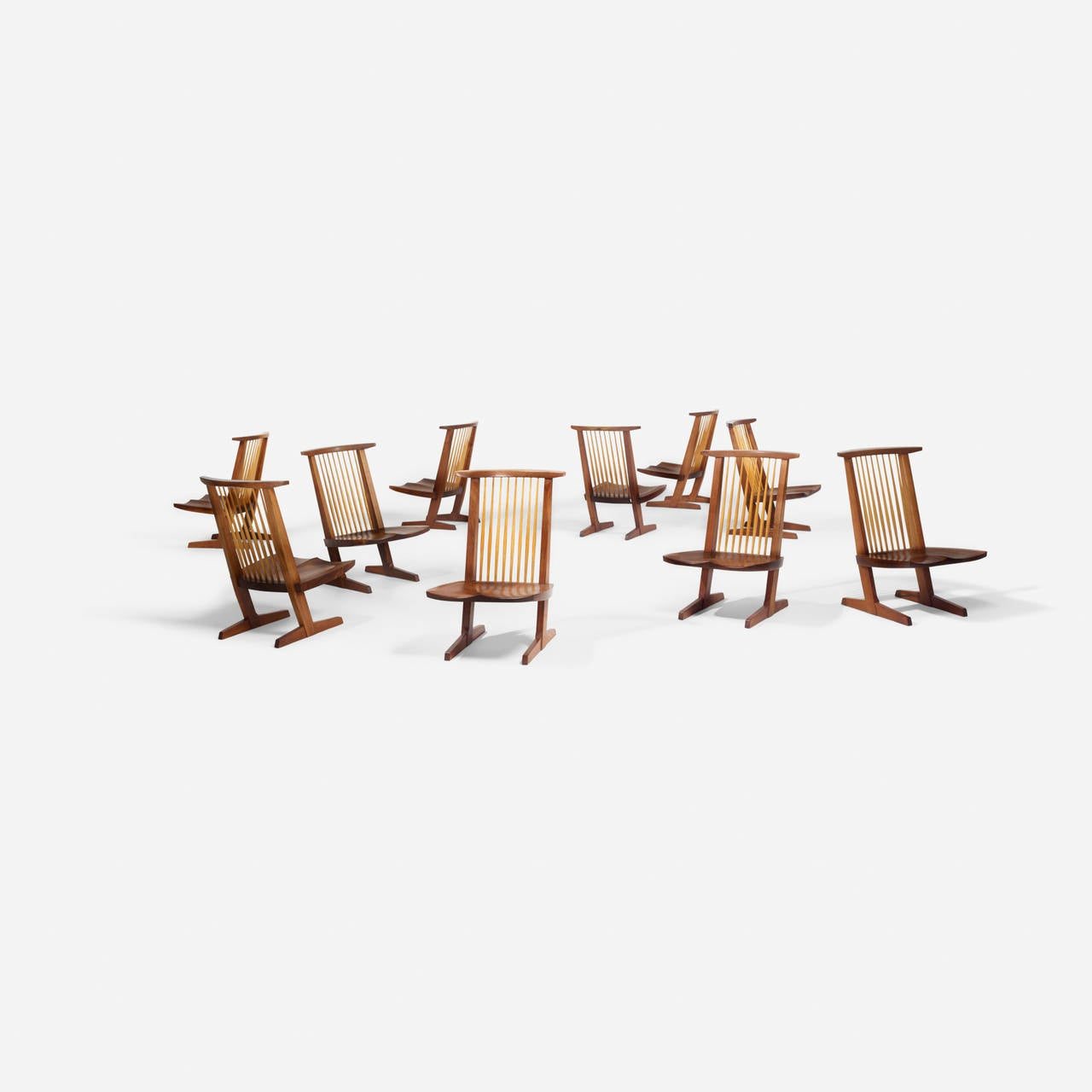 "George Nakashima Custom ""Sanso"" Table and Set of Ten ""Conoid"" Lounge Chairs In Excellent Condition For Sale In Houston, TX"