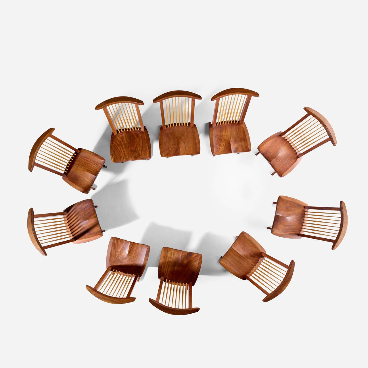 "American George Nakashima Custom ""Sanso"" Table and Set of Ten ""Conoid"" Lounge Chairs For Sale"