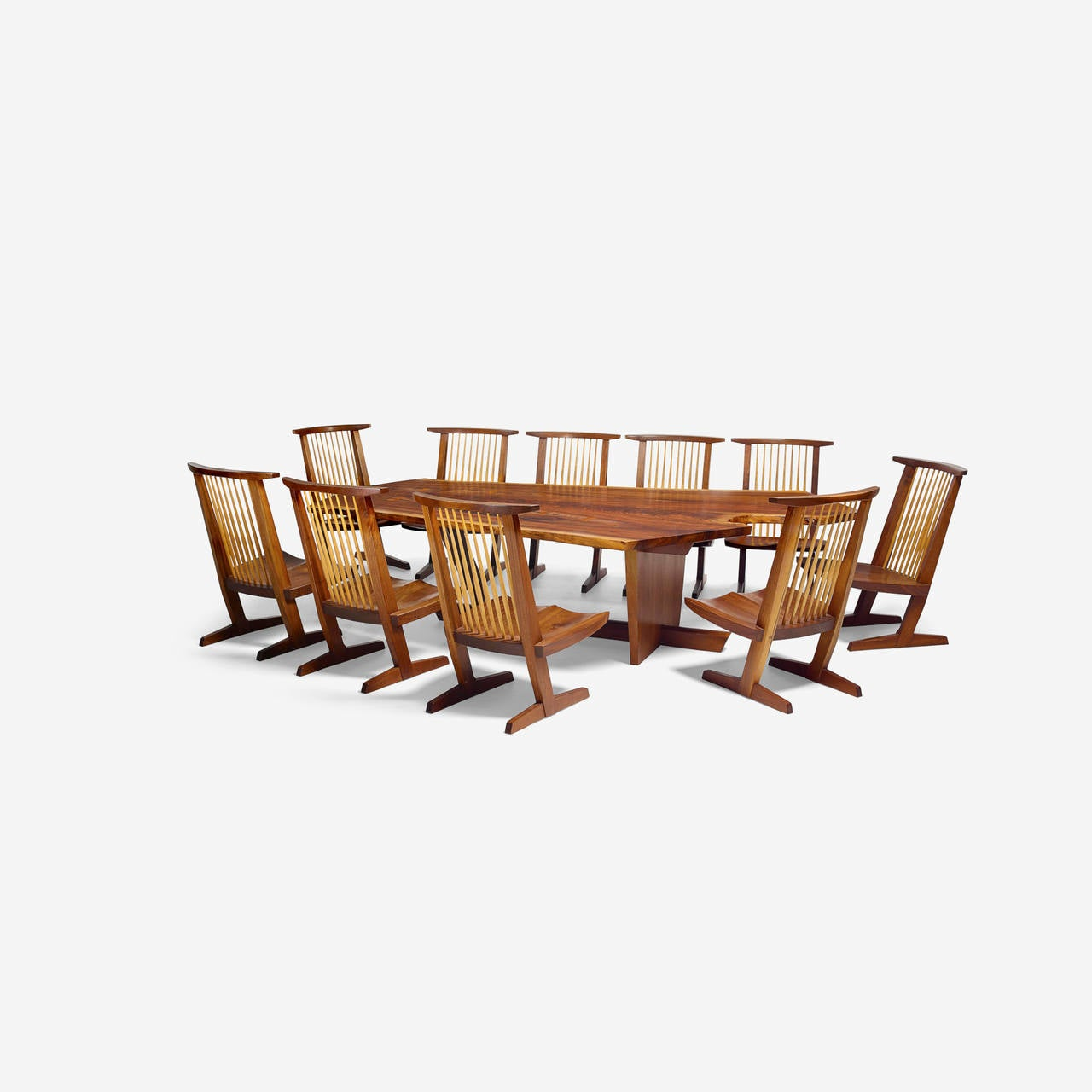 "American Craftsman George Nakashima Custom ""Sanso"" Table and Set of Ten ""Conoid"" Lounge Chairs For Sale"