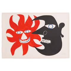 "Alexander Calder Lithograph ""Deux Tetes,"" 1970"