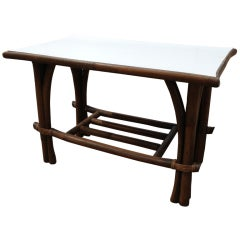 Unusual Calif-Asia Rattan Asian Modern Side Table