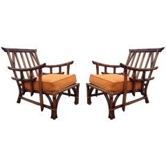 Fabulous Pair of Calif-Asia Asian Modern Rattan Club Chairs
