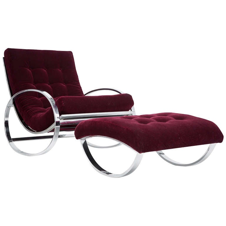 Renato Zevi Rocking Lounge Chair And Ottoman at 1stdibs