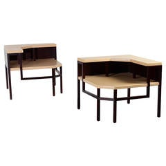 Paul Frankl Corner Tables, Lacquered Cork and Mahogany, 1951