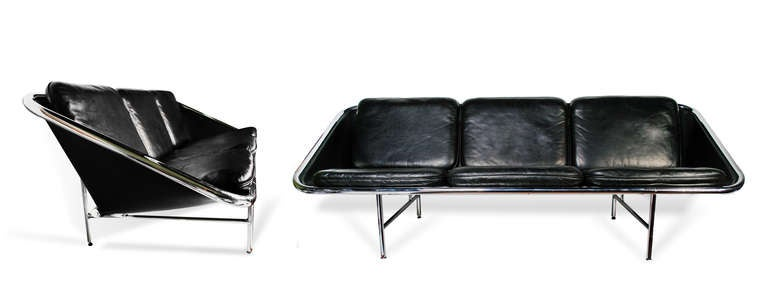 George Nelson & Associates  Sling sofa model 6832   Herman Miller USA, 1963 leather, chrome-plated steel, rubber 87 w x 32 d x 29 h inches  literature George Nelson: Architect, Writer, Designer, Teacher, von Vegesack and Eisenbrand, pg.