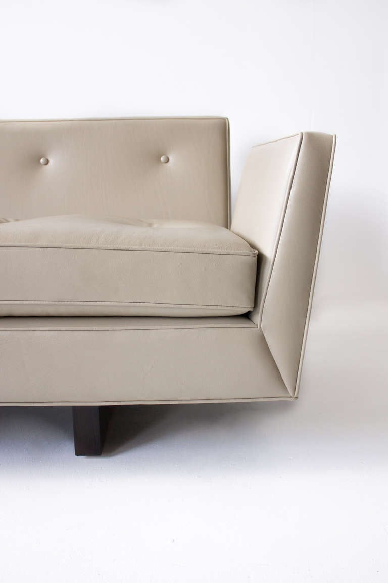 Leather Edward Wormley for Dunbar Open Arm Sofa, 1950s For Sale