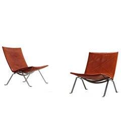 Pair of Poul Kjaerholm PK 22 Chairs for E. Kold Christensen