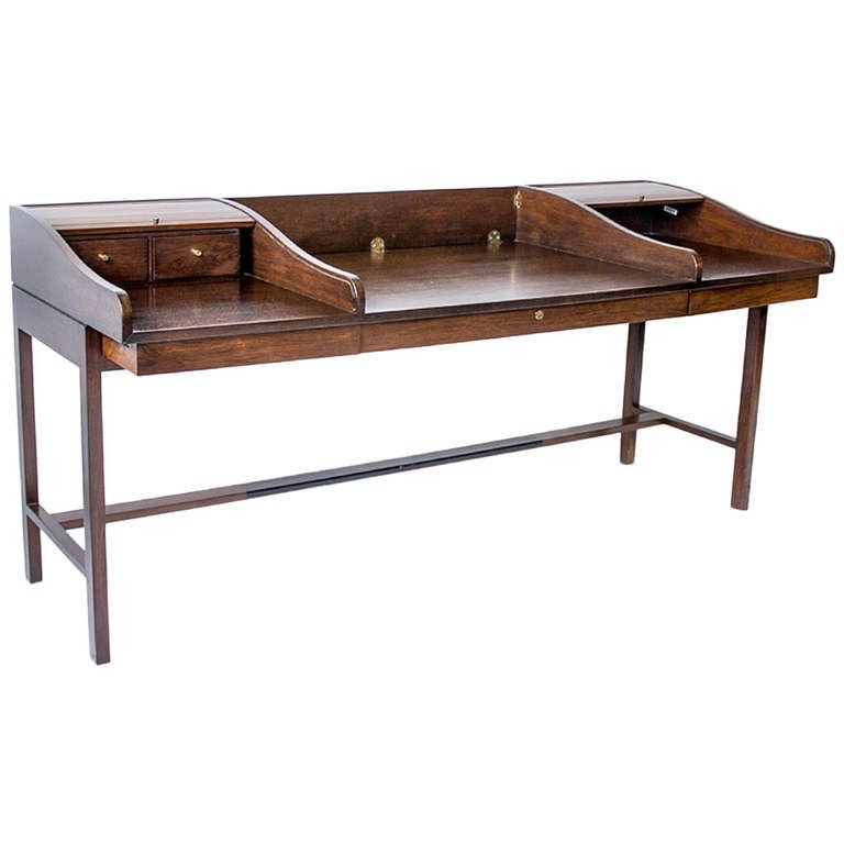 Edward Wormley for Dunbar Desk with Custom Rosewood Inserts, Original Key, 1957