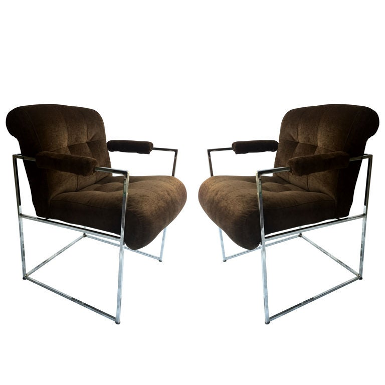 Pair Of Milo Baughman Armchairs For Sale