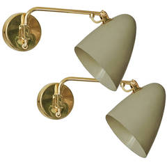 Paavo Tynell, Pair of Adjustable Sconces, Idman Oy, 1950s